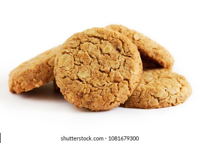 Biscuits with whole-wheat (wholemeal) flour isolated on white background