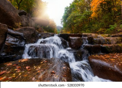 Biseulsan National Recreation Forest, The best  waterfall Image of landscape Mountain flower and autumn in South Korea.