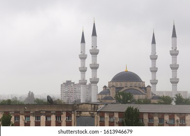 Bishkek Central Mosque, formerly Borborduk Mosque, with the morning fog
