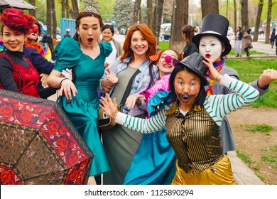 BISHKEK, KYRGYZ REPUBLIC - APRIL 14, 2018: Masquerade party with many clowns