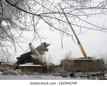 Bishkek. Kyrgyzstan. 01/17/17 the crash of the Boeing 747 aircraft of Turkish Airlines in the village. Emergency services are trying to remove the wreckage.