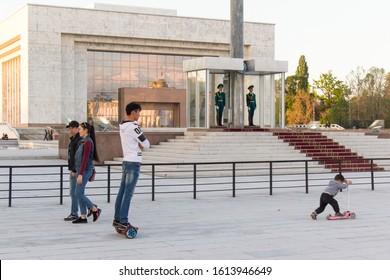 Bishkek, Kyrgyzstan - April 27, 2018: people waling in Alatoo Square In Bishkek