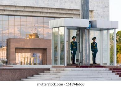 Bishkek, Kyrgyzstan - April 27, 2018: two guards in Alatoo Square In Bishkek