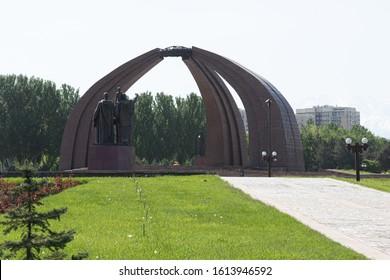 Bishkek, Kyrgyzstan - April 30, 2018: Victory square in Bishkek