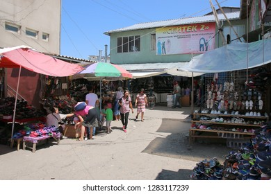 Bishkek, Kyrgyzstan - August 02, 2016: Local people buying and selling goods at  Osh Bazar which is the main marktet of Bishek, Kyrgyzstan.