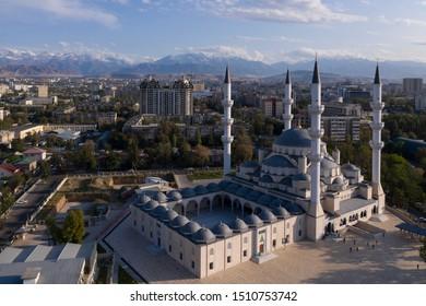 Bishkek, Kyrgyzstan - August 17, 2019: Aerial view of the new  Central Mosque of Imam Sarakhsi in Bishkek, Kysgyzstan capital