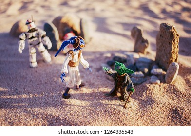 Bishkek. Kyrgyzstan. August 2018. Master Yoda and one of the young twi'lek Padawan, with trooper and astrodroid R3T4. A secret operation on the planet Tatooine. Handmade fanart.