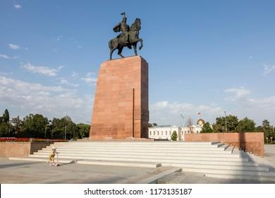 Bishkek, Kyrgyzstan August 9 2018: Monument for Manas, hero of ancient kyrgyz epos in Bishkek