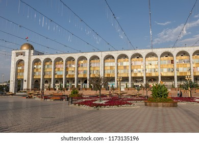 Bishkek, Kyrgyzstan August 9 2018: Ala-Too Square. Bishkek formerly Frunze, is the capital and the largest city of the Kyrgyz Republic