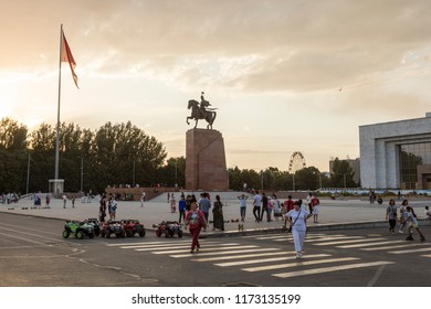 Bishkek, Kyrgyzstan August 9 2018: The residents of Bishkek meet at sunset in the square in front of the Historical Museum for leisure activities