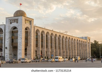 Bishkek, Kyrgyzstan August 9 2018: Building in oriental style during sunset near Ala-Too Square. Bishkek formerly Frunze, is the capital and the largest city of the Kyrgyz Republic