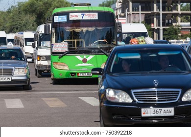 BISHKEK, KYRGYZSTAN - CIRCA JUNE 2017: View of crowded streets of the capital of Kyrgyzstan Bishkek circa June 2017 in Bishkek.