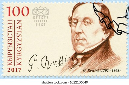 BISHKEK, KYRGYZSTAN - DECEMBER 31, 2017: A stamp printed in Kyrgyzstan shows Gioachino Antonio Rossini (1792-1868), composer, 2017