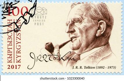 BISHKEK, KYRGYZSTAN - DECEMBER 31, 2017: A stamp printed in Kyrgyzstan shows John Ronald Reuel Tolkien (1892-1973), writer, series Eminent personalities, 2017