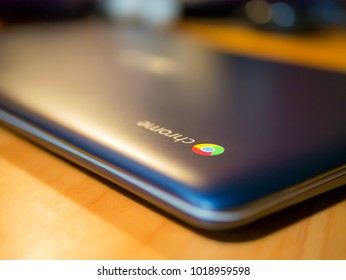 Bishkek, Kyrgyzstan - February 1, 2017: Chromebook on a table, side top view
