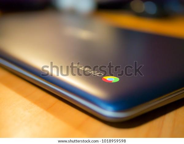 Bishkek, Kyrgyzstan - February 1, 2017: Chromebook on a table, side top view