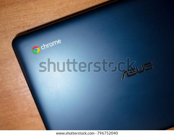 Bishkek, Kyrgyzstan - February 1, 2017: Asus Chromebook on a table, top view