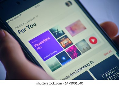 Bishkek, Kyrgyzstan - January 17, 2019: Apple Music recommendation tab For You based on machine learning of your music library