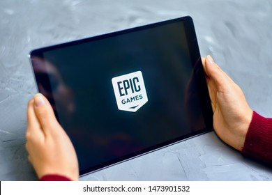Bishkek, Kyrgyzstan - January 21, 2019: Logo of Epic Games on apple ios tablet ipad pro. Epic Games is an American video game and software development corporation