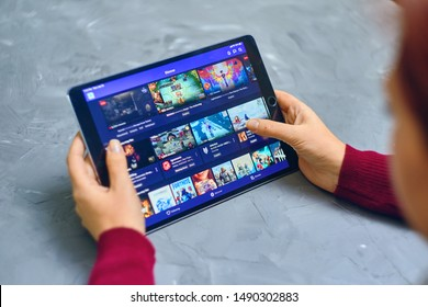 Bishkek, Kyrgyzstan - January 21, 2019: Twitch service video streaming play themes on ipad