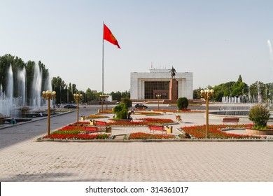 BISHKEK, KYRGYZSTAN - JULY 18, 2015: Ala-Too Square. Bishkek formerly Frunze, is the capital and the largest city of the Kyrgyz Republic. The population - 900,000 people