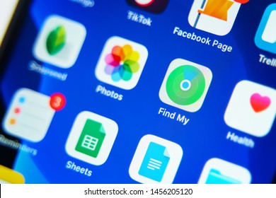Bishkek, Kyrgyzstan - July 6, 2019: Downloading new app on smartphone. Find my app on iphone.