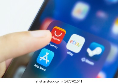 Bishkek, Kyrgyzstan - July 6 2019: Aliexpress application icon on Apple iPhone X smartphone screen.