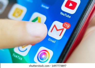Bishkek, Kyrgyzstan - July 6 2019: Google Gmail application icon on Apple iPhone X smartphone screen close-up. Gmail app icon.