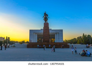 BISHKEK, KYRGYZSTAN - JUNE 2017: Ala Too Square with People Hero Manas Statue and Kyrgyz State History Museum View Point