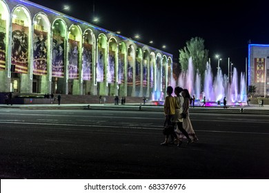 BISHKEK/ KYRGYZSTAN. May 18, 2015: Group of girls on a walk in the evening. Ala-Too Square, the central square of Bishkek. The square was built in 1984