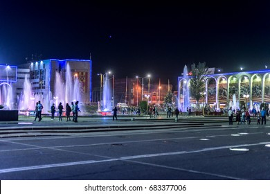 BISHKEK/ KYRGYZSTAN. May 18, 2015: Young people and tourists walk and have fun at the fountains in the square. Ala-Too Square, the central square of Bishkek. The square was built in 1984