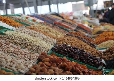 Bishkek, Kyrgyzstan - May, 2019: Local food and spices in Osh bazar, the main market in Bishkek.
