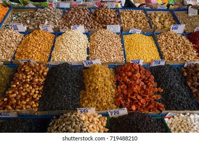 Bishkek, Kyrgyzstan - October 02, 2014: Close-up of dried fruits at Osh Bazar