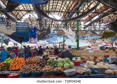 Bishkek, Kyrgyzstan - October 2, 2014: Interior view of the market called Osh Bazar