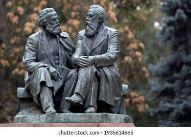 BISHKEK, KYRGYZSTAN - OCTOBER 20, 2018: Monument from Soviet era, representing Karl Marx and Friedrich Engels in Bishkek, Kyrgyzstan