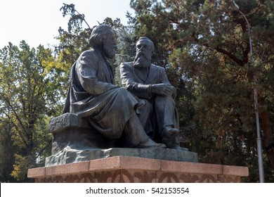 Bishkek, Kyrgyzstan - October 3, 2014: Karl Marx and Friedrich Engels monument in Oak Park