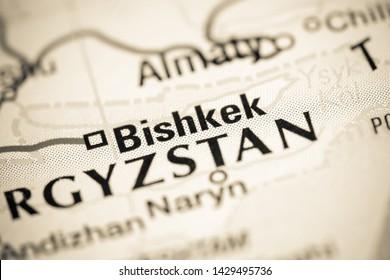 Bishkek, Kyrgyzstan on a map
