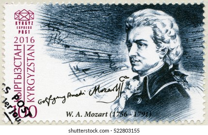 BISHKEK, KYRGYZSTAN - SEPTEMBER 08, 2016: A stamp printed in Kyrgyzstan shows Wolfgang Amadeus Mozart (1756-1791), composer