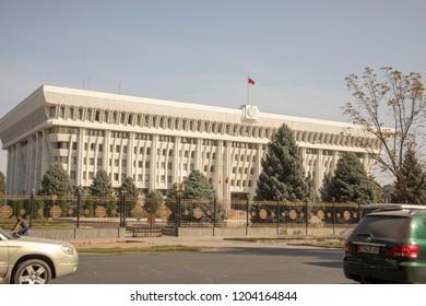 Bishkek, Kyrgyzstan -September 19, 2018 :  Exterior of White House street view in Bishkek, Kyrgyzstan.