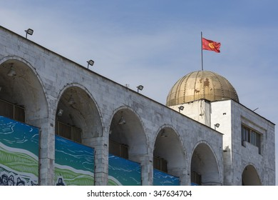 BISHKEK, KYRGYZSTAN - SEPTEMBER 27, 2015: Monuments at main square Ala-Too in Bishkek, Kyrgyzstan.
