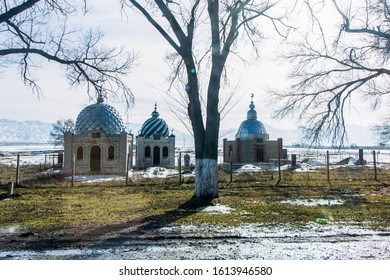 Bishkek province, Kyrgyzstan - February 24, 2017: three little mosques in the kyrgyz countryside.