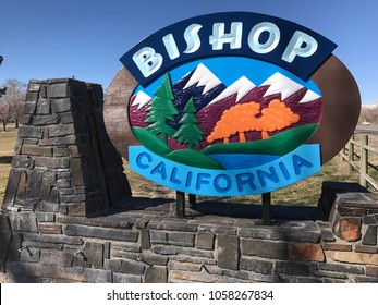 Bishop California Public Neighborhood Sign. Taken February 16, 2017 in Bishop California in the afternoon.
