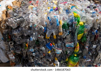Bishop, California / USA - June 12 2019: crushed plastic drink bottles as recycling center
