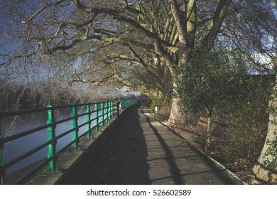 Bishops park river path.The best place for outside sport activity in London. Beautiful walkway river view