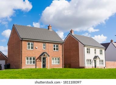Bishop's Stortford, Hertfordshire. England. UK. September 5th 2020. New build detached homes in the new Stortford Fields housing estate development.