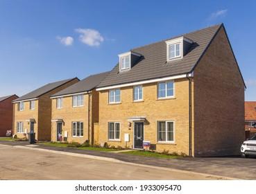 Bishop's Stortford, Hertfordshire. England. UK. March 9th 2021. Detached new build homes in the Stortford Fields housing development.