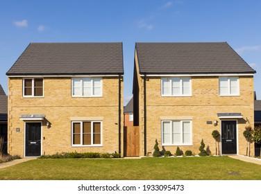 Bishop's Stortford, Hertfordshire. England. UK. March 9th 2021. Detached new build homes in the new Stortford Fields housing development.