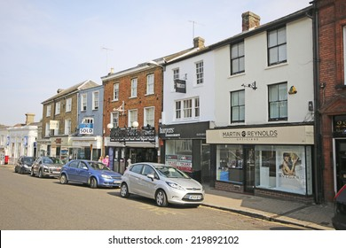 BISHOP'S STORTFORD, UK - SEPTEMBER 22, 2014: Shops. Bishop's Stortford is a historic market town in the county of Hertfordshire in England and just west of the M11 motorway