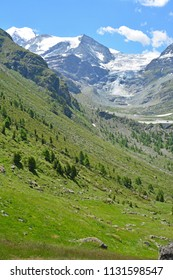 The Bishorn (ltop eft) and the Turtmann Glacier at the head of the Turtmann Valley in the Southern Swiss Alps
