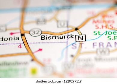 Bismarck. Missouri. USA on a geography map